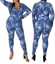 Plus Size Print Blue Wrap Bodysuit und Hosen Set