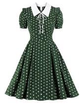 Polka Green Kurzarm Vintage Skater Kleid