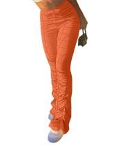 Pantalon froncé taille haute décontracté de couleur unie
