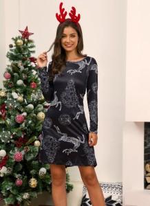 Kadınlar Noel Baskı O-Boyun Mini Elbise
