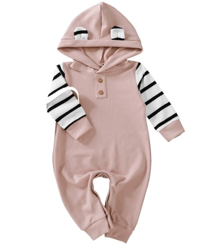 Mono de mamelucos con capucha de rayas de otoño para bebé niña