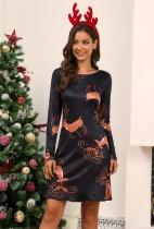 Frauen Weihnachtsdruck O-Neck Minikleid