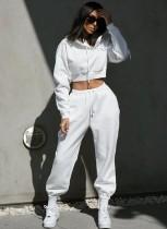 Otoño Street Style Color sólido Crop Top Pantalones Sudadera con capucha