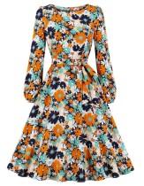 Blumendruck Langarm Vintage Skater Kleid