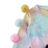 Ensemble chemise et minijupe effet tie-dye d'automne pour fille