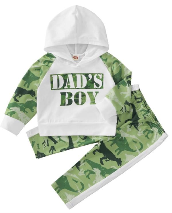 Осенний комплект детской толстовки с капюшоном и брюками с животным принтом для мальчиков