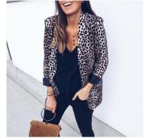 Blazer de oficina con estampado de leopardo de otoño