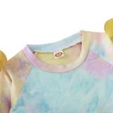 Set camicia tie dye e minigonna autunnale per bambina