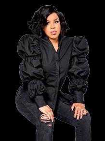 Осенняя черная блуза с объемными рукавами