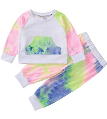 Kids Girl Autumn Tie Dye Shirt and Pants Set