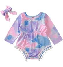Barboteuse tie-dye bébé fille avec bandeau assorti
