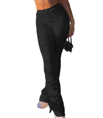 Pantalones acanalados de cintura alta de color sólido casual