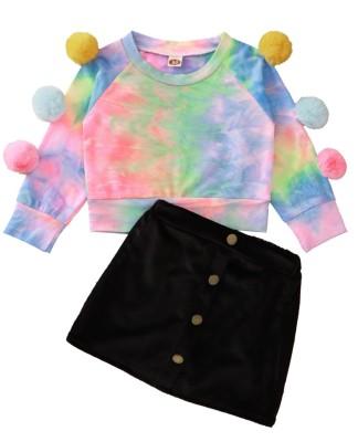 Kids Girl Autumn Tie Dye Shirt and Mini Skirt Set