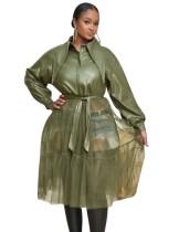 Vestido de patchwork de piel y malla de otoño con cinturón