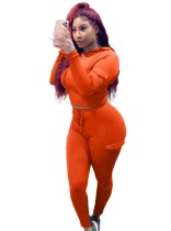 Sports Long Sleeve Solid Color Pocket Crop Top and Pants Set