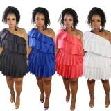 Plus Size Pure Color One Schulter Rüschenkleid