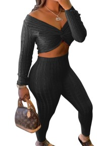 Autumn Knitted Sexy Wrapped Crop Top and Pants Set
