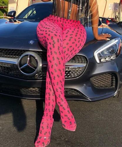 Leggings rosa con stampa dollaro Street Fashion