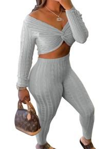 Conjunto de pantalón y top corto envuelto sexy de punto de otoño