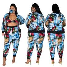 Plus Size Matching Print 4-teiliger Trainingsanzug inklusive Gesichtsschutz