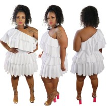 Plus Size Pure Color One Shoulder Ruffle Dress