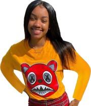 Camisa de manga larga con cuello redondo y estampado de dibujos animados de otoño