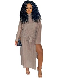 Vestido de camisa longa com fenda lateral com fenda lateral para outono