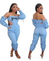 Sexy Over Shoulder Cutout Print Jumpsuit mit Ärmeln