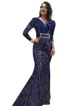 Formale Pailletten V-Ausschnitt Meerjungfrau Abendkleid ohne Gürtel