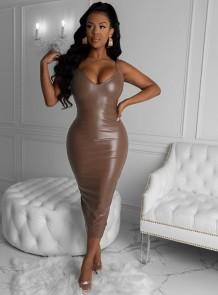 Сексуальное кожаное платье миди с ремешками