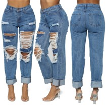 Casual Blue High Waist Ripped Damage Jeans