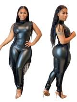 PU Black Sexy Sleeveless Bodycon Tassels Jumpsuit