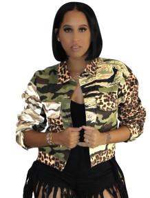 Veste courte à manches longues à imprimé camouflage d'automne