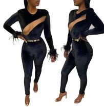 Sexy Black Velvet Long Sleeve Bodycon Jumpsuit