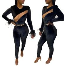 Sexy schwarzer Samt Langarm Bodycon Jumpsuit