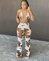 Sexy bijpassende set beha en broek met print