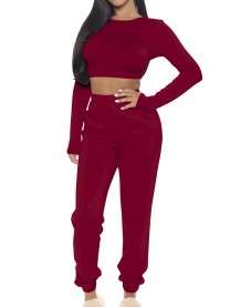 Autumn Solid Color Tight Crop Top und Track Pants Set
