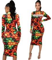 Vestido midi con estampado Autumn Snack y mangas completas