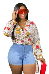 Plus Size Print Long Sleeve Wrapped Blouse