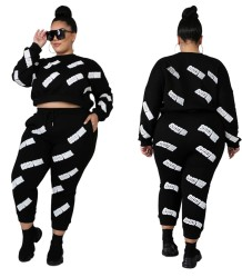 Plus Size Autumn Print Black Crop Top und Track Pants Set