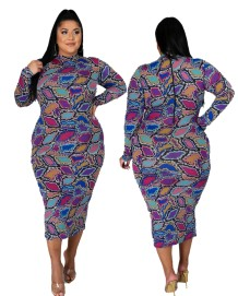 Plus Size Autumn Mature Print Lila Midi-Kleid