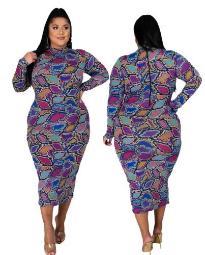 Осеннее фиолетовое платье миди с принтом для взрослых больших размеров