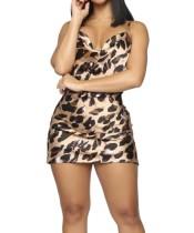 Mini vestido club sexy con estampado de leopardo
