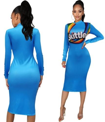 Платье миди с принтом Autumn Snack и длинными рукавами