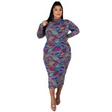 Plus Size Autumn Mature Print Lila Midi-Kleid