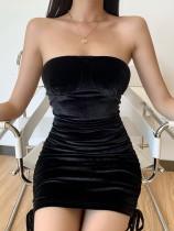 Sexy Black Velvet Tube Mini Dress