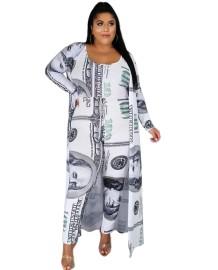 Plus Size Herbst Dollar Print Jumpsuit mit passendem langen Mantel