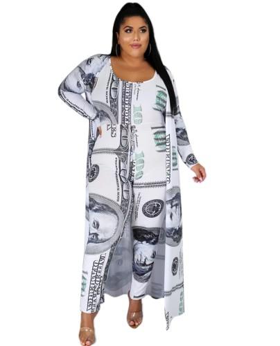 """Комбинезон большого размера с принтом """"Осенний доллар"""" и подходящее длинное пальто"""