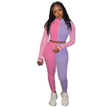 Sports Fitness Knitted Contrast Crop Top and Pants Set