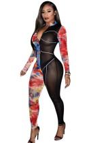 Herfstfeest Print Patchwork Doorzichtige Sexy Bodycon-jumpsuit